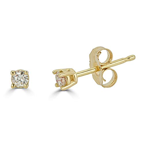 14K Yellow Gold Natural 0.10 Carat Total Weight Round Diamond Stud Earrings for Women (Yellow-Gold, 0.10)