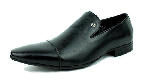 hombre sin cierres Mocasines De Vestir Estilo Italiano Zapatos Piel Sintética REINO UNIDO 6-11 Negro