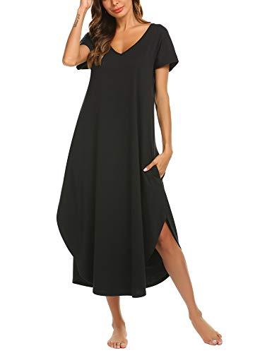 luxilooks Loungewear Women's Casual V Neck Sleepwear Short Sleeve Full Length Sleep Dress Nightgown(Black,Medium
