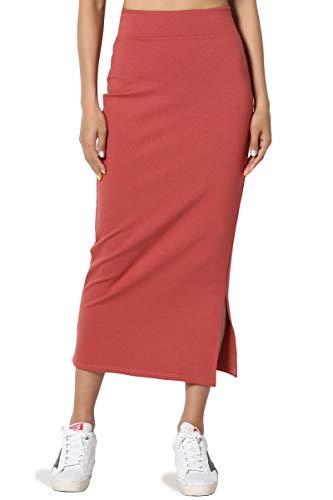 TheMogan Women's Side Slit Ponte Knit High Waist Mid-Calf Pencil Skirt Brick 3XL