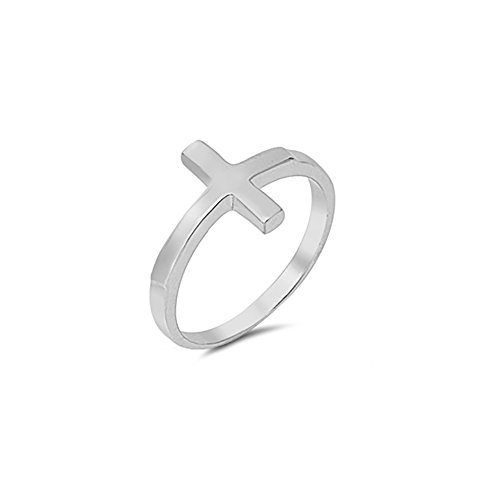 - Sideways Cross Ring Band Simple Plain 925 Sterling Silver, Size-12