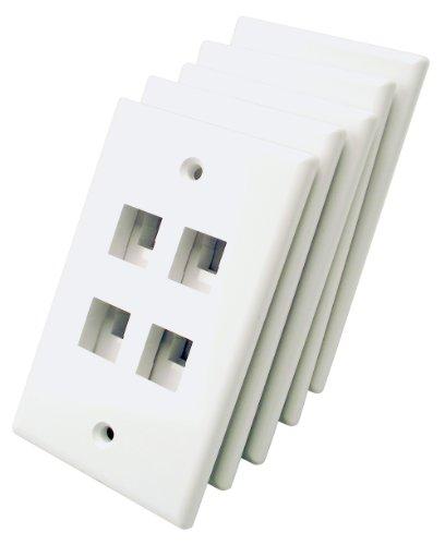 Keystone Port Gang 4 Single - Shaxon BM303WP4-5B, 4 Port Single Gang White Keystone Wall Plates, 5 Pack