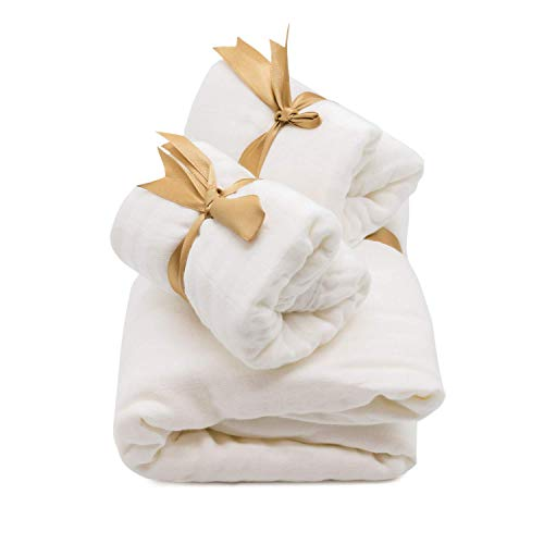 MITI Kidz Muslin Gift Set - 1 Swaddle Blanket (47 x 47 in) and 2 Burp Cloths (10.5 x 23.5 in), Thick and Soft Cotton/Bamboo 4-Layer, White, Perfect for Baby Registry or Baby Shower Presents ()