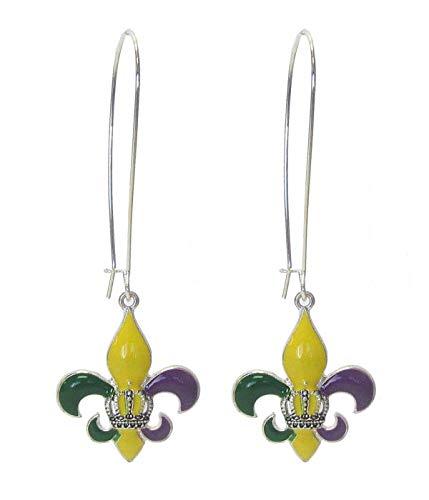 Droniera Mardi GRAS New Orleans Fleur De Lis Enamel Purple Yellow Green Long Earrings
