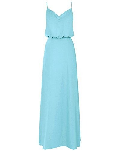 - Cdress Chiffon Bridesmaid Dresses Long Prom Evening Dress V-Neck Double Straps Formal Party Gowns Pool US 4
