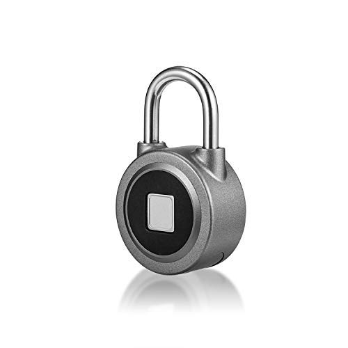 Fingerprint Padlock, Metal Bluetooth Password Lock, Waterproof Anti-Theft Keyless Lock, Suitable for Gym, Door, Backpack, Luggage, Bicycle, Office, Support USB Charging, APP for Android/iOS