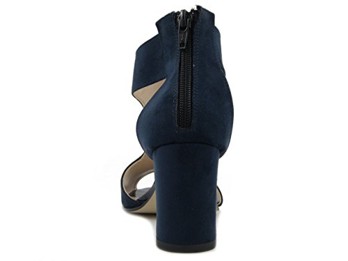 Sandalo in ecocamoscio colore blu, tacco 7cm., 510 e17