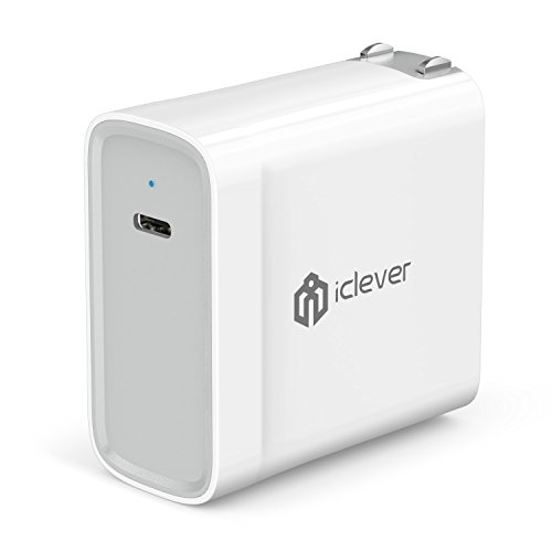 (iClever 45W USB Type C Power Delivery 2.0 Wall Charger for MacBook 2015/2016, iPhone XS/XS Max/XR/X/8/8 Plus, Nintendo Switch, Samsung S9/S8/S7, Pixel C, Moto Z, Huawei Mate 10, Mate Book and more)