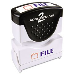 (- Accustamp2 Shutter Stamp with Microban, Red/Blue, FILE, 1 5/8 x 1/2)