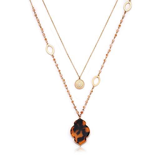VOGUEKNOCK Layered Pendant Necklace Multi Function Acrylic Petal Medallion Pendant Layered Beaded Chain Long Necklaces for Women (Tortoise) ()