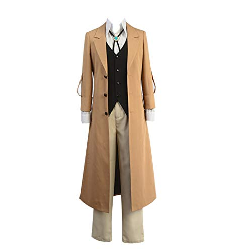 HICOSER Bungo Stray Dogs Osamu Dazai Detective Cosplay Costume Halloween Outfit Suit Brown -