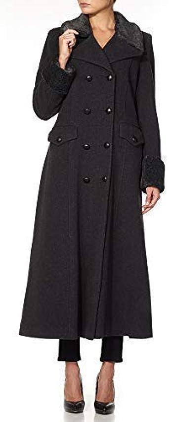 De La Creme Women/'s Military Faux Fur Trim Midi Coat