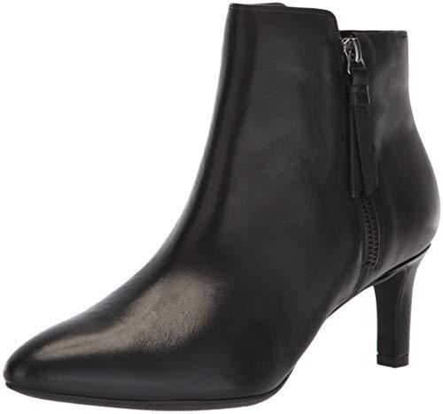 CLARKS Women's Calla Blossom Fashion Boot, Black Leather, 090 M US