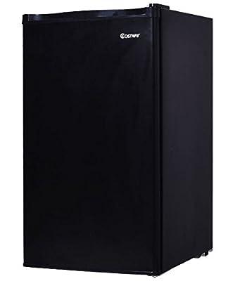 K&A Company Compact Refrigerator Mini Fridge Freezer Stainless Steel Black Cooler 3.2 Cu.Ft.