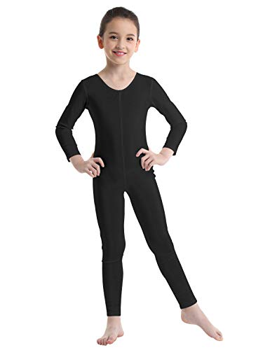 Alvivi Kid's Boys Girls Long Sleeve Unitard Jumpsuit Full Length Body suit Metallic Gymnastics Leotard Dance wear Costumes Black 5-6 -