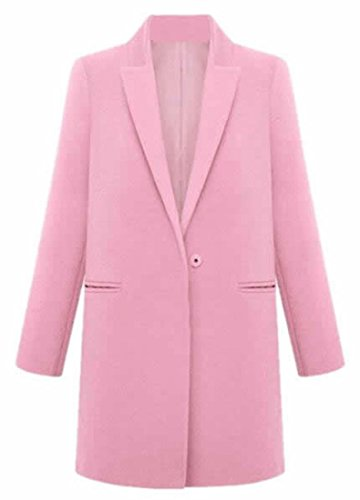 XTX Women's Fashion Plus Lapel Woolen Pea Coat Jacket Overcoat Pink XX-Large (Pink Coat)