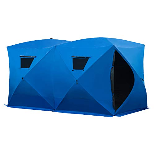 Outsunny 8 Person Waterproof Portable Pop-Up Ice Fishing Shelter with 2 Doors