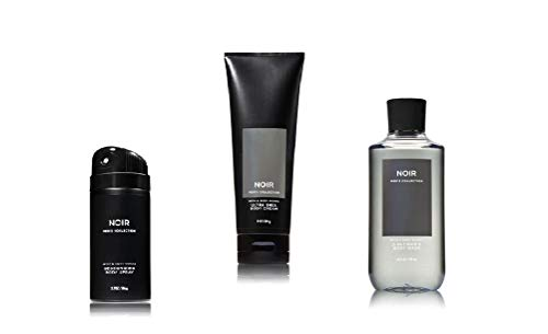 Bath and Body Works Noir Men's Collection 3 Piece Set Includes 3.7 oz Deodorizing Body Spray, 8 oz Ultra Shea Body Cream, 10 oz 2-IN-1 Hair & Body Wash
