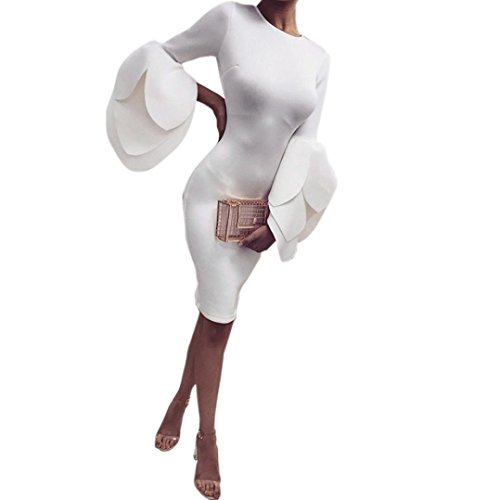 AmyDong Ladies Dress Women Sexy Petals Sleeves Dress Ladies Evening Party Mini Dress (White, S) ()