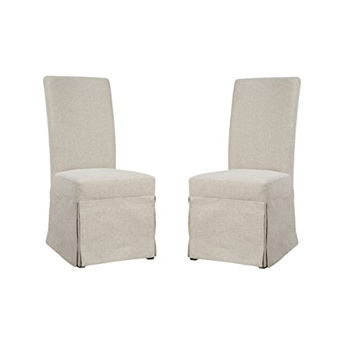 (Emerald Home Paladin Rustic Charcoal and Buff Linen Upholstery, Gunmetal Gray Harware Upholstered Dining Chair with Skirted Base, Set of Two)