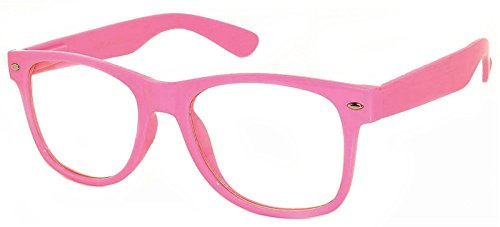 Retro Style Classic Vintage Sunglasses Dark Pink Frame with Clear Lens Uv - Pink Sunglasses Framed