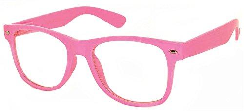 Womens Vintage Clear Lens Sunglasses Retro 80's Pink Frame Uv - Glasses Pink Nerd