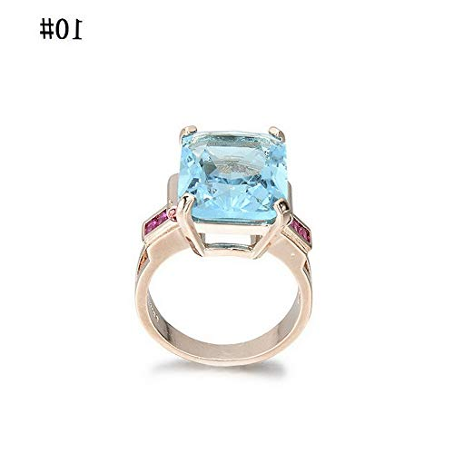 Crookston Natural Aquamarine Ring Wedding Ring Emerald Cut Blue 14K Rose Gold Jewelry | Model RNG - 2972 | 10# ()
