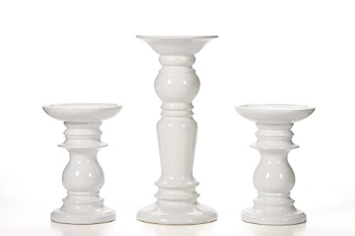 Hosley Set of 3 Ceramic White Pillar Candle Holders Two 6 Inch and One 9.5 Inch High. Ideal for LED and Pillar Candles Gifts for Wedding Party Home Spa Reiki Aromatherapy Votive Candle Gardens P2