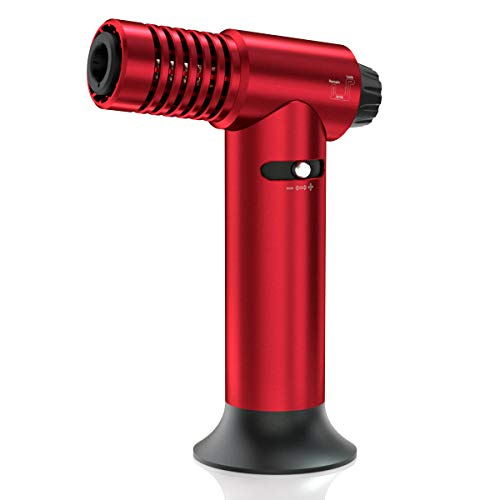 Multipurpose Butane Torch, MDee Kitchen Culinary Torch, Refillable Cigar Lighter, Adjustable Flame Blow Torch, with Safty Lock, Perfect for Baking, Welding, DIY Crafts and more(Red,Gas Not Included)
