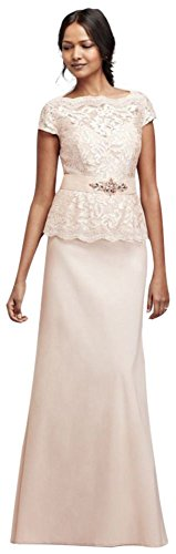 Cap Sleeve Sequin Lace Mock Two Piece Mother of Bride/Groom Dress Style...