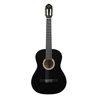 Cocoarm Black Wooden Classic Guitar, 39 Inch with Soft Nylon String, Adjustable Shoulder Strap, Acoustic guitar for Beginners