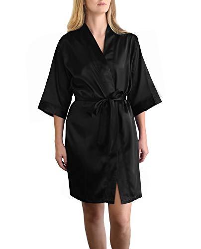 Women's Bridesmaid Satin Kimono Robe -Limited Time Sale $9.99 Through The end of March Whiles Supplies Last. (Black, L/XL) ()