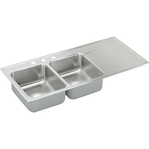 Elkay ILR4822L1 1-Hole Gourmet Lustertone Stainless Steel 48-Inch x 22-Inch Double Left Basins Top-Mount Kitchen (Lustertone Double Bowl Corner Sink)
