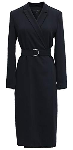 ROEYSHOUSE Women Midi Dress 3/4 Sleeves Wrap Suit Trench Coat with Belt for Spring Fall Black