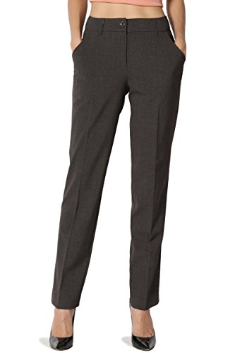 TheMogan Women's Mid Rise Boot Crop Straight Leg Suitable Trouser Pants Grey M