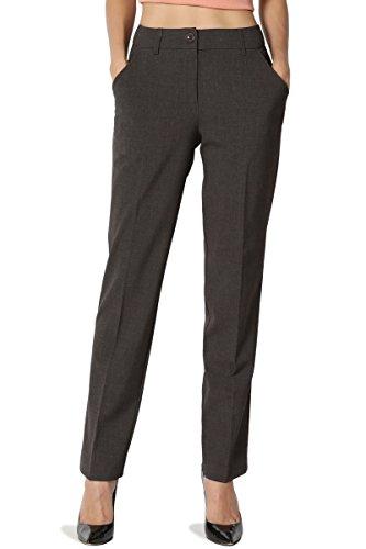 TheMogan Women's Mid Rise Boot Crop Straight Leg Suitable Trouser Pants Grey 1XL