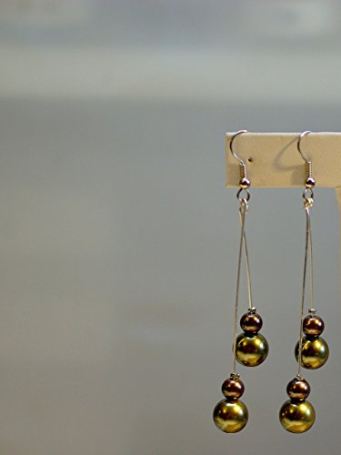 Pearl Pendulum (Pearl Earrings/04 Double Pendulum - Copper & Metallic Green Pearls - Surgical Steel French Hooks with Silver Wrap)