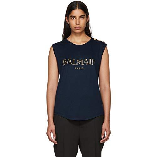 反響するテンポ不満(バルマン) Balmain レディース トップス ノースリーブ Navy Sleeveless T-Shirt [並行輸入品]