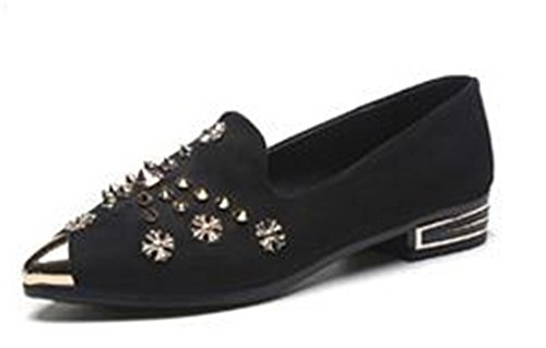 Pointy Store Ballerina Women's On Black Soft Shoes Comfort Classic Flat Suede Ballet Slip Flats Toe SUNNY tqdwvt