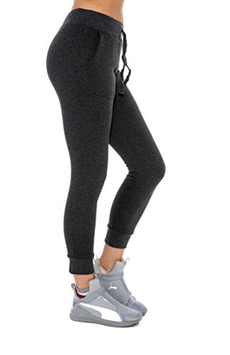 Women's Jogger Sweatpants Warm Solid Color Lounge Pants - Assorted Colors, Charcoal, Large