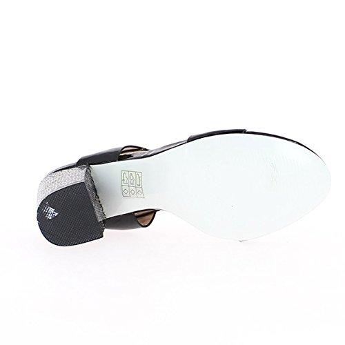 ChaussMoi Sandales Noires Vernies à Talon Carrés de 9cm
