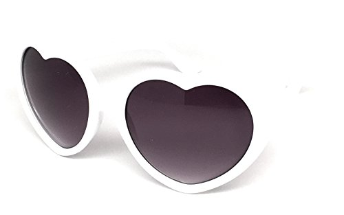 Webdeals - Super Cute Heart Shaped Fashion Sunglasses (White) (Sunglasses Heart White Shaped)