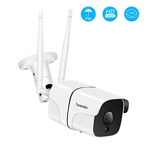 Tovendor Outdoor Security Camera, 1080P Wireless Bullet Cam, CCTV Surveillance System, IP66 Waterproof IP Camera with Two-Way Audio, Night Vision and Cloud Storage, Compatible with iOS/Android/Web