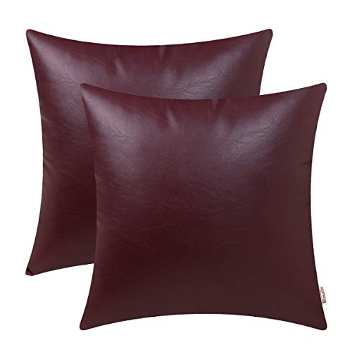 Brawarm Cozy Throw Pillow Covers Cases for Couch Sofa Bed Solid Faux Leather Luxury Soft Thick Cushion Covers for Home Decorative 18 X 18 Inches Burgundy Pack of 2