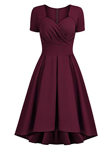 - AISIZE Women's 1950s Vintage Sweetheart Wrap Cocktail Party Swing Dresses Burgundy