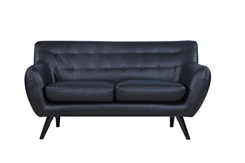 Century Modern Tufted Leather Loveseat