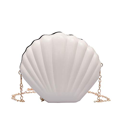 - Jauntly Women Wild Fashion Shell Oval Bag Messenger Chain Shoulder Bag Party Mini Crossbody Bags (White)
