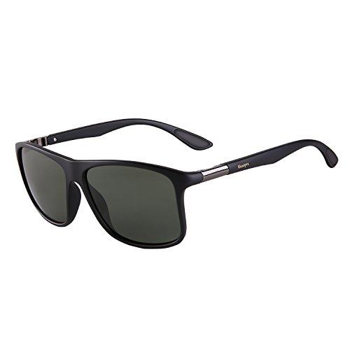 Vseegrs Vintage OversizedSquareAviatorPolarizedSunglassesfor Men Wayfarer Shades with UV Protection (matte black&green lens, 57)