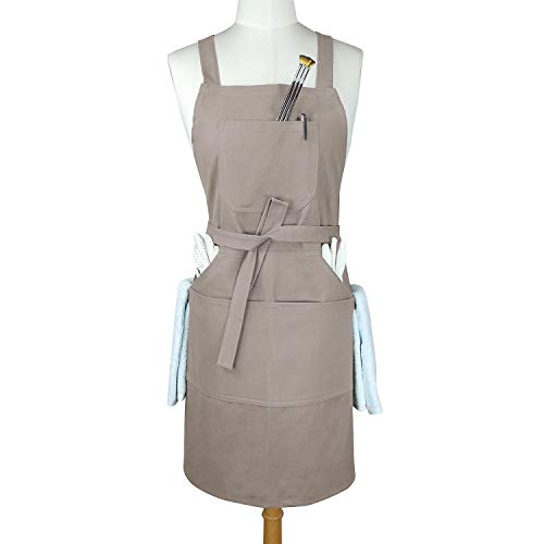 - Aiden Brothers - Soft Cotton Canvas Professional Bib Kitchen Apron with Cross Back Straps + Fasten/Quick Release Buckle + 5 Pockets + 2 Towel Loops for Artist Cooking, Adjustable M to XXL, 27
