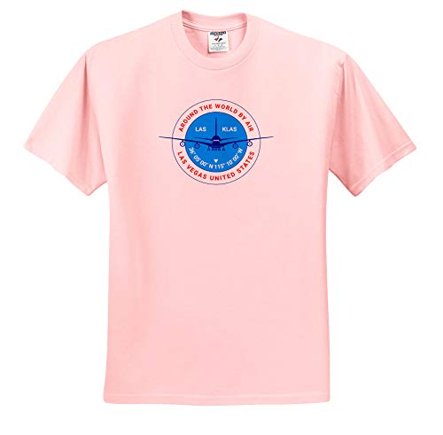 (Alexis Design - Around The World by Air - Round Badge, a Blue Airliner. Red Text Las Vegas United States - T-Shirts - Light Pink Infant Lap-Shoulder Tee (12M) (ts_304581_72))